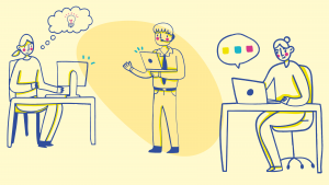 illustration of a professor giving class to students in a virtual classroom