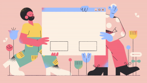vector with two humans holding a website window