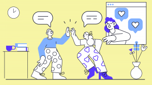 An illustration with students doing a high five in a physical classroom and a someone connecting in a virtual class.